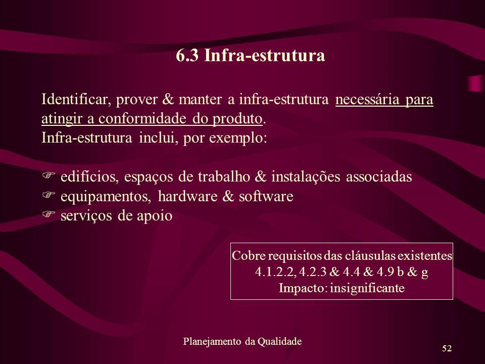 52 Planejamento da Qualidade 6.3 Infra-estrutura Identificar, prover & manter a infra-estrutura necessária para atingir a conformidade do produto. Inf