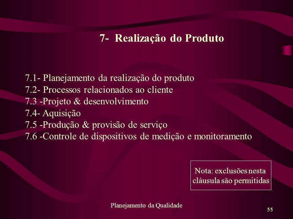 55 Planejamento da Qualidade 7- Realização do Produto 7.1- Planejamento da realização do produto 7.2- Processos relacionados ao cliente 7.3 -Projeto &