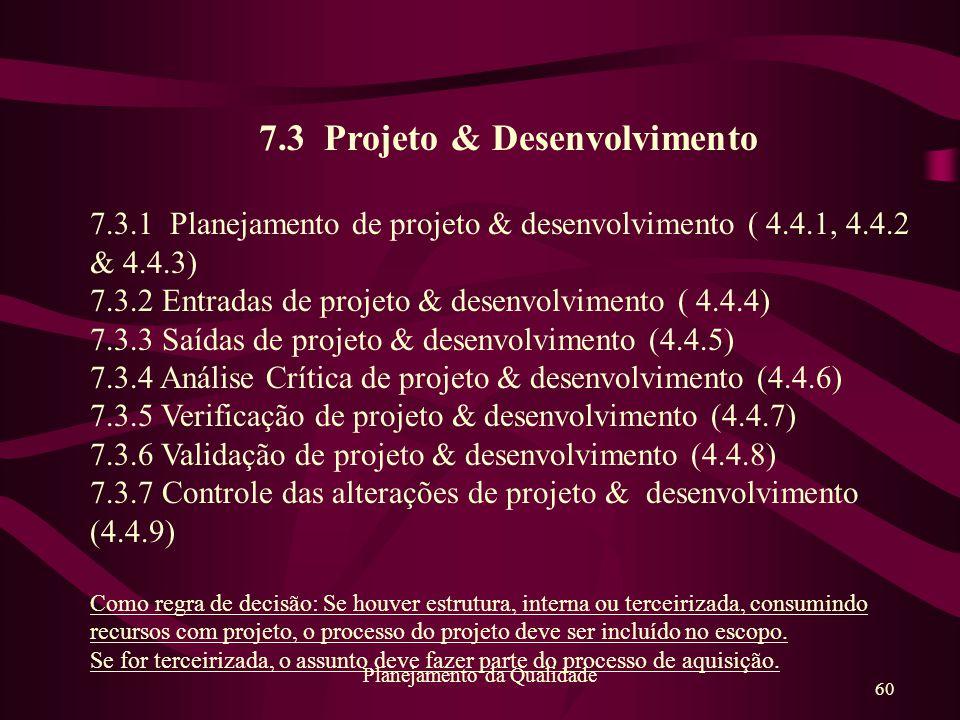 60 Planejamento da Qualidade 7.3 Projeto & Desenvolvimento 7.3.1 Planejamento de projeto & desenvolvimento ( 4.4.1, 4.4.2 & 4.4.3) 7.3.2 Entradas de p