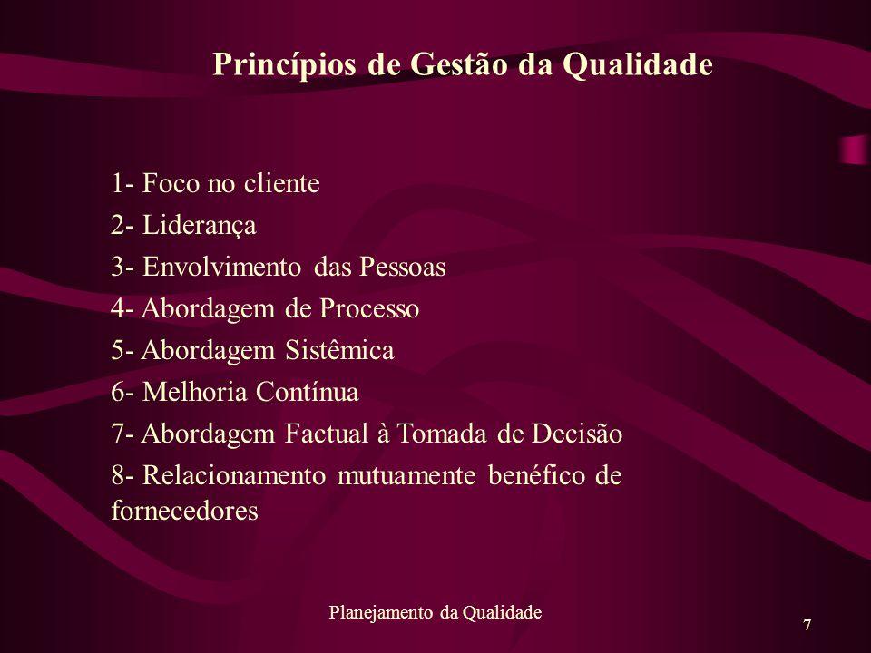 7 Planejamento da Qualidade 1- Foco no cliente 2- Liderança 3- Envolvimento das Pessoas 4- Abordagem de Processo 5- Abordagem Sistêmica 6- Melhoria Co