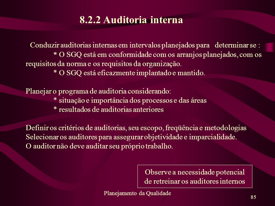 85 Planejamento da Qualidade 8.2.2 Auditoria interna Conduzir auditorias internas em intervalos planejados para determinar se : * O SGQ está em confor