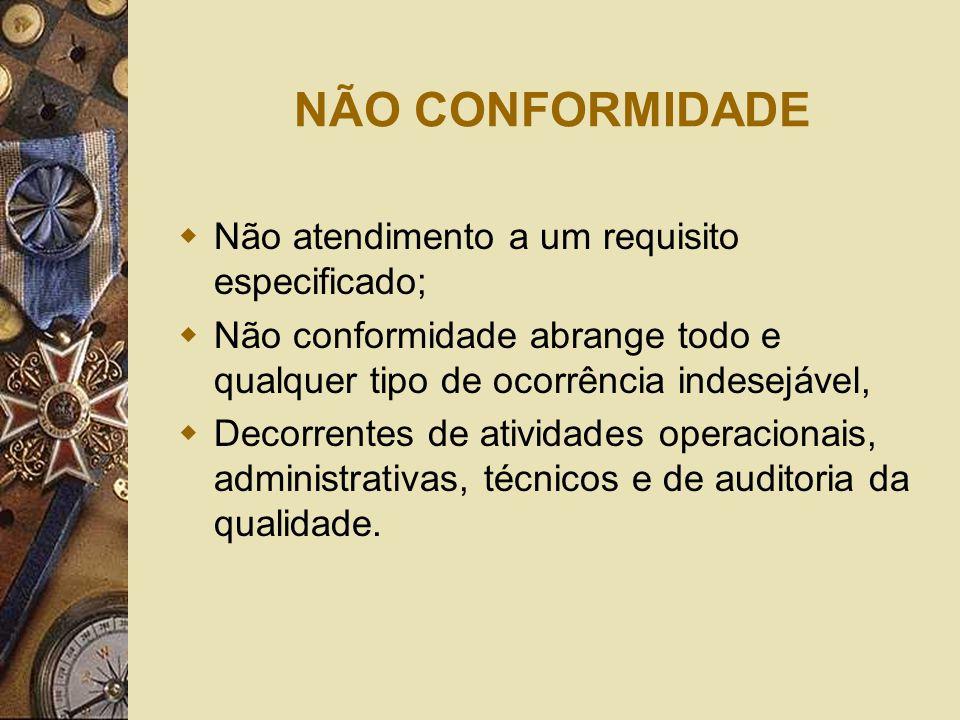 NÃO CONFORMIDADE  Não atendimento a um requisito especificado;  Não conformidade abrange todo e qualquer tipo de ocorrência indesejável,  Decorrent