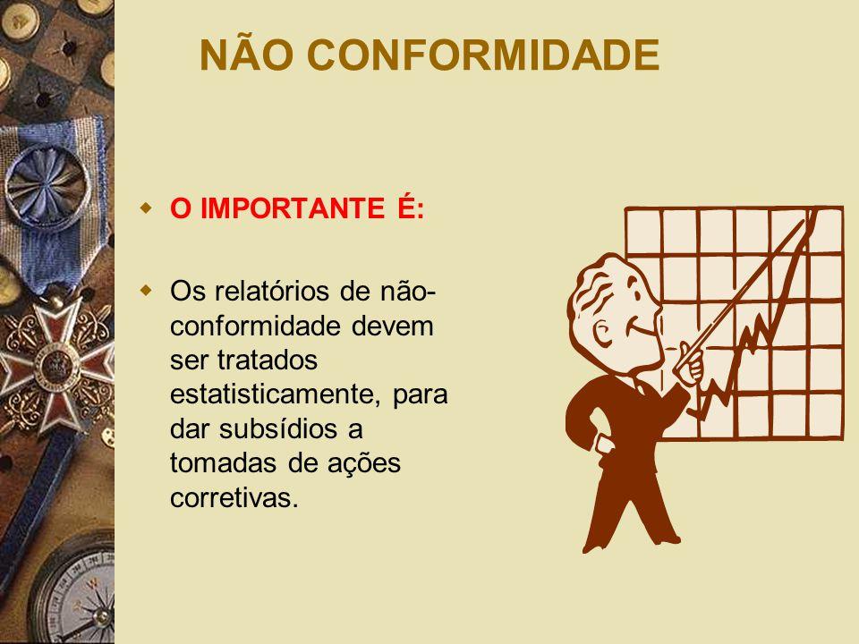 NÃO CONFORMIDADE  O IMPORTANTE É:  Os relatórios de não- conformidade devem ser tratados estatisticamente, para dar subsídios a tomadas de ações cor