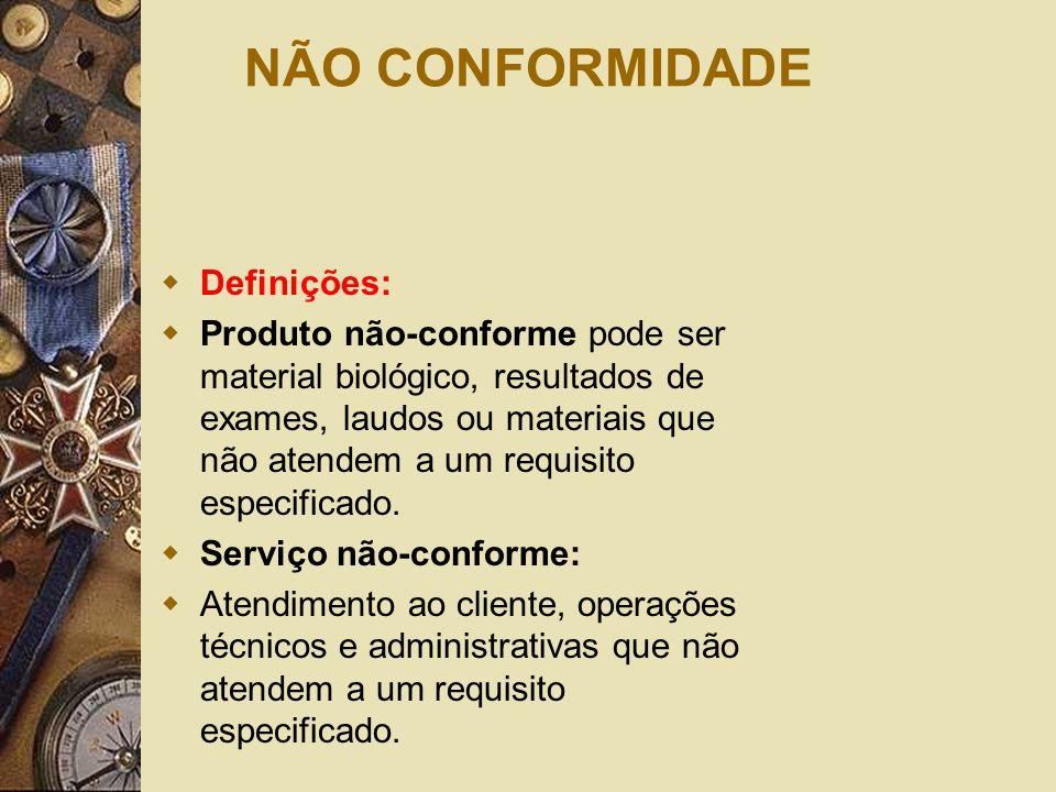 NÃO CONFORMIDADE  Definições:  Produto não-conforme pode ser material biológico, resultados de exames, laudos ou materiais que não atendem a um requ