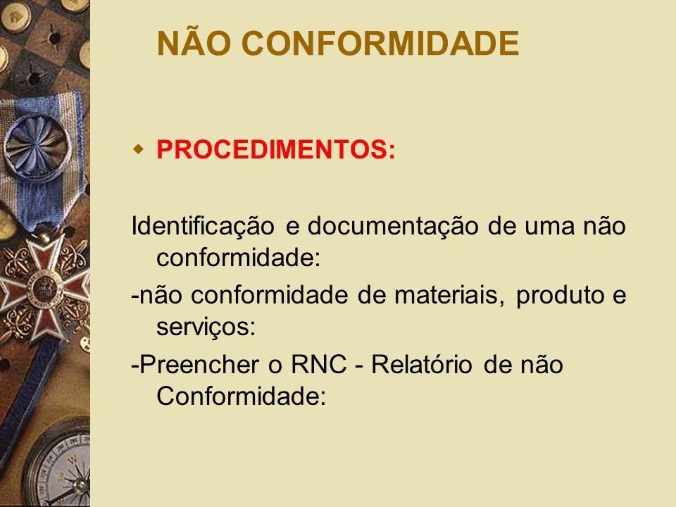 NÃO CONFORMIDADE  PROCEDIMENTOS: Identificação e documentação de uma não conformidade: -não conformidade de materiais, produto e serviços: -Preencher