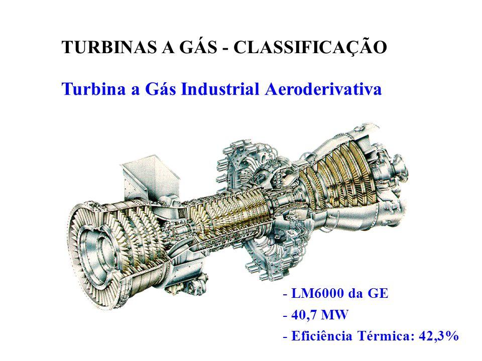 Turbina a Gás Industrial Aeroderivativa TURBINAS A GÁS - CLASSIFICAÇÃO - LM6000 da GE - 40,7 MW - Eficiência Térmica: 42,3%