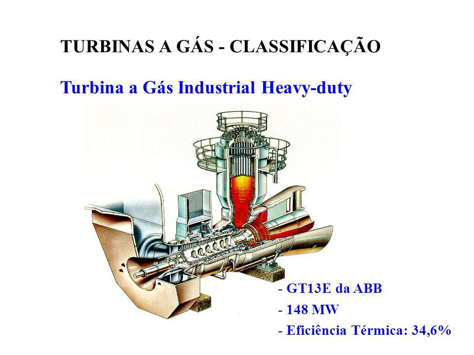 Turbina a Gás Industrial Heavy-duty TURBINAS A GÁS - CLASSIFICAÇÃO - GT13E da ABB - 148 MW - Eficiência Térmica: 34,6%