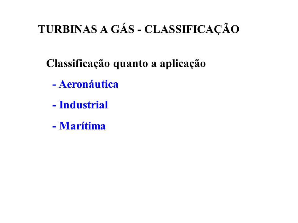 Outras classificações Quanto a transmissão de força - Livre - Transmissão Direta - Transmissão por engrenagens Quanto a rotação - Velocidade constante (Turbo-alternadores) - Velocidade variável (Turbo-compressores, etc) Quanto a construção - Leves (aeronáuticas, aeroderivativas) - Pesadas (Heavy-Duty) TURBINAS A GÁS - CLASSIFICAÇÃO