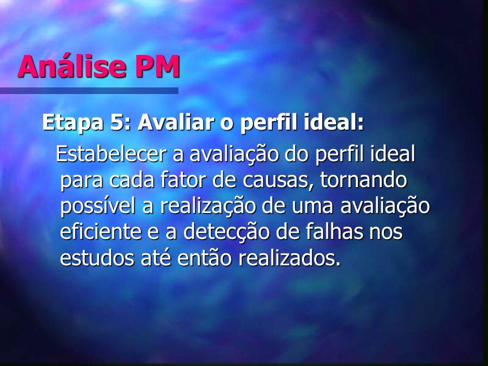 Análise PM Etapa 5: Avaliar o perfil ideal: Estabelecer a avaliação do perfil ideal para cada fator de causas, tornando possível a realização de uma a