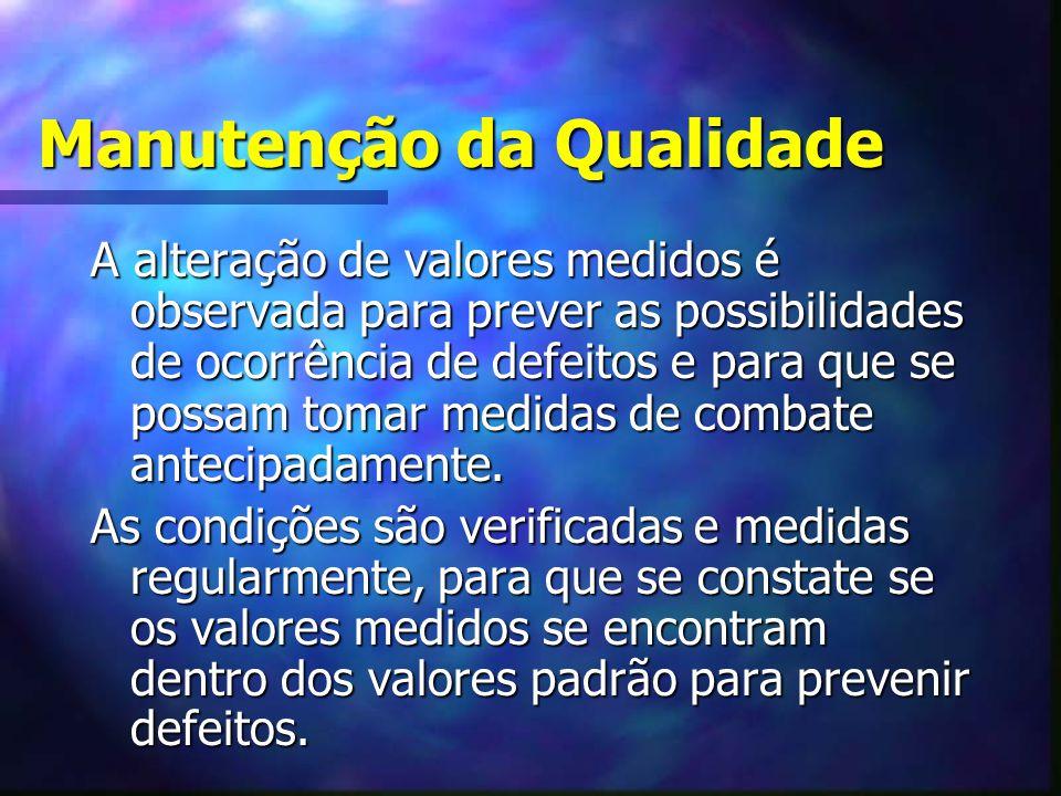 Manutenção da Qualidade A alteração de valores medidos é observada para prever as possibilidades de ocorrência de defeitos e para que se possam tomar