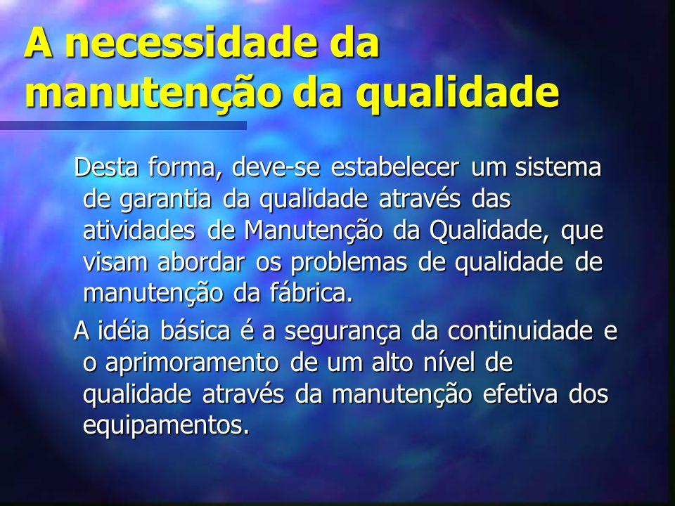 A necessidade da manutenção da qualidade Desta forma, deve-se estabelecer um sistema de garantia da qualidade através das atividades de Manutenção da
