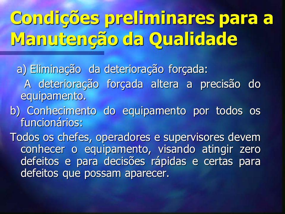 Condições preliminares para a Manutenção da Qualidade a) Eliminação da deterioração forçada: a) Eliminação da deterioração forçada: A deterioração for