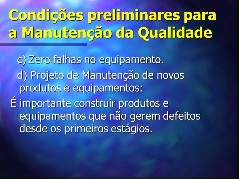Condições preliminares para a Manutenção da Qualidade c) Zero falhas no equipamento. c) Zero falhas no equipamento. d) Projeto de Manutenção de novos