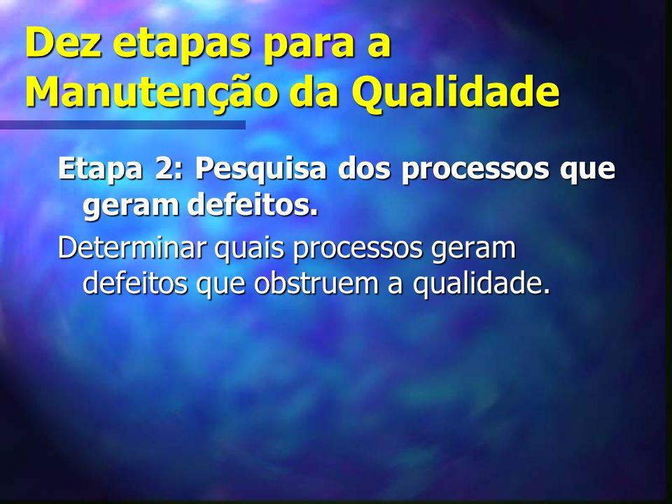 Dez etapas para a Manutenção da Qualidade Etapa 2: Pesquisa dos processos que geram defeitos. Determinar quais processos geram defeitos que obstruem a