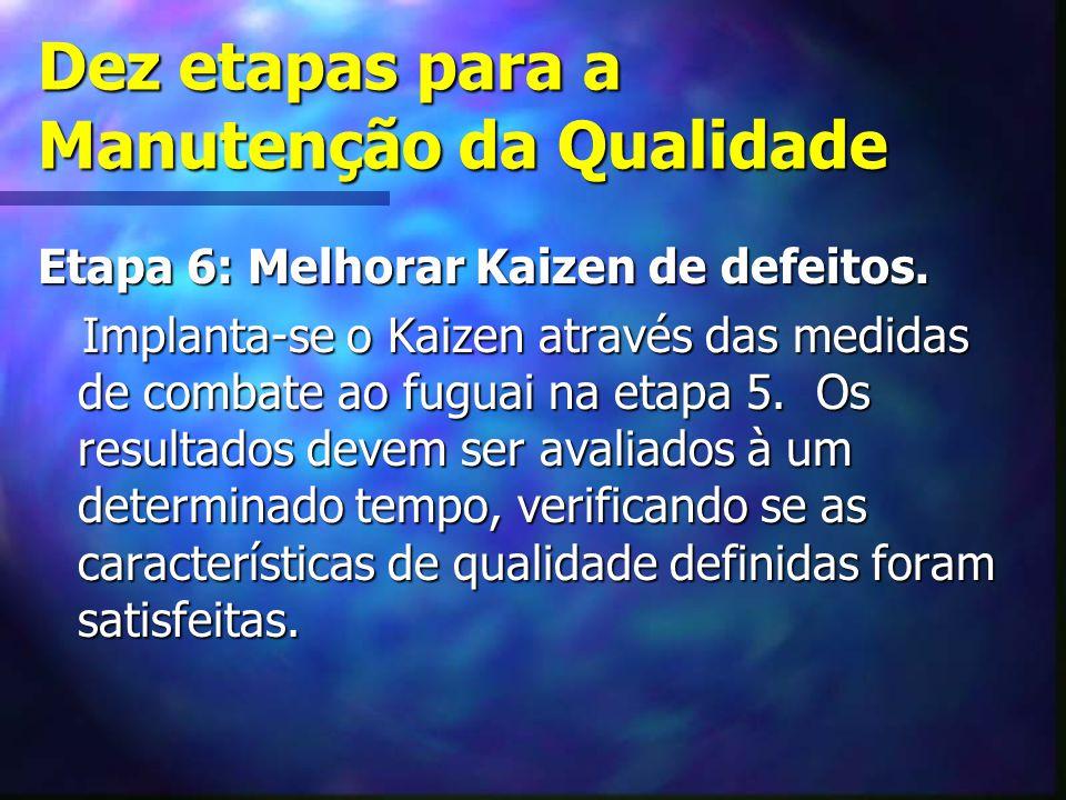 Dez etapas para a Manutenção da Qualidade Etapa 6: Melhorar Kaizen de defeitos. Implanta-se o Kaizen através das medidas de combate ao fuguai na etapa