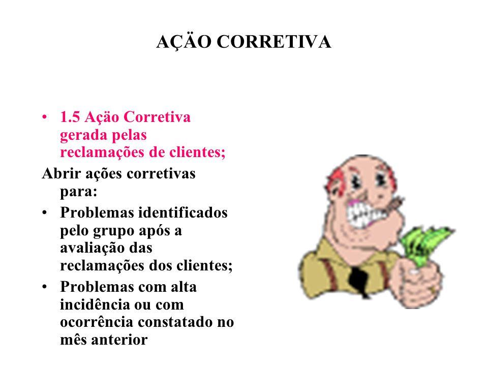 AÇÄO CORRETIVA 1.5 Açäo Corretiva gerada pelas reclamações de clientes; Abrir ações corretivas para: Problemas identificados pelo grupo após a avaliaç