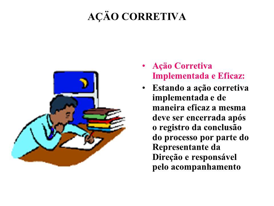AÇÄO CORRETIVA Açäo Corretiva Implementada e Eficaz: Estando a ação corretiva implementada e de maneira eficaz a mesma deve ser encerrada após o regis