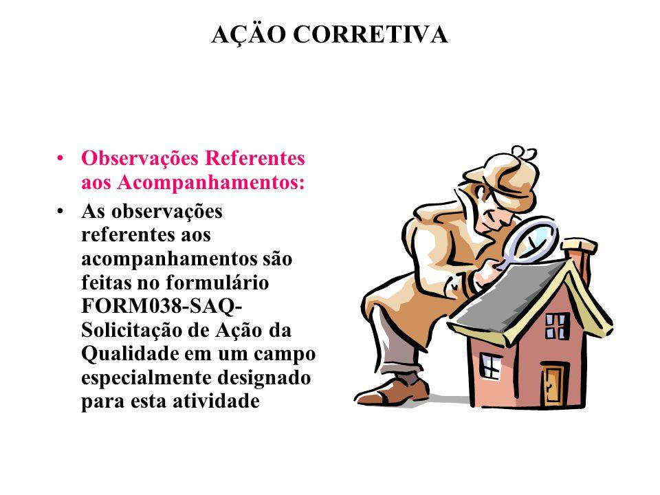 AÇÄO CORRETIVA Observações Referentes aos Acompanhamentos: As observações referentes aos acompanhamentos são feitas no formulário FORM038-SAQ- Solicit