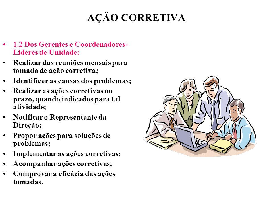 AÇÄO CORRETIVA 1.2 Dos Gerentes e Coordenadores- Lideres de Unidade: Realizar das reuniões mensais para tomada de ação corretiva; Identificar as causa