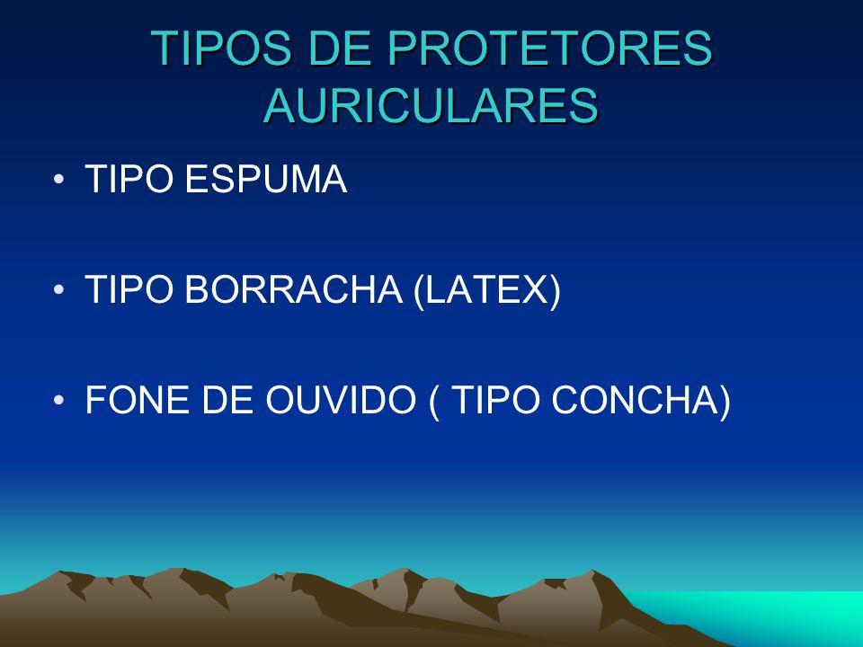 TIPOS DE PROTETORES AURICULARES TIPO ESPUMA TIPO BORRACHA (LATEX) FONE DE OUVIDO ( TIPO CONCHA)