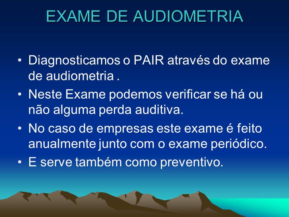EXAME DE AUDIOMETRIA Diagnosticamos o PAIR através do exame de audiometria. Neste Exame podemos verificar se há ou não alguma perda auditiva. No caso