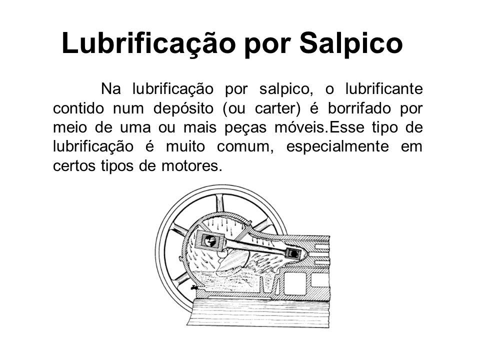 Lubrificação por Salpico Na lubrificação por salpico, o lubrificante contido num depósito (ou carter) é borrifado por meio de uma ou mais peças móveis.Esse tipo de lubrificação é muito comum, especialmente em certos tipos de motores.