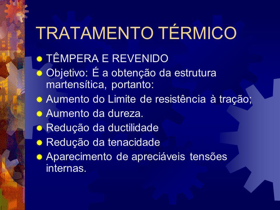 TRATAMENTO TÉRMICO  TÊMPERA E REVENIDO  Objetivo: É a obtenção da estrutura martensítica, portanto:  Aumento do Limite de resistência à tração;  A