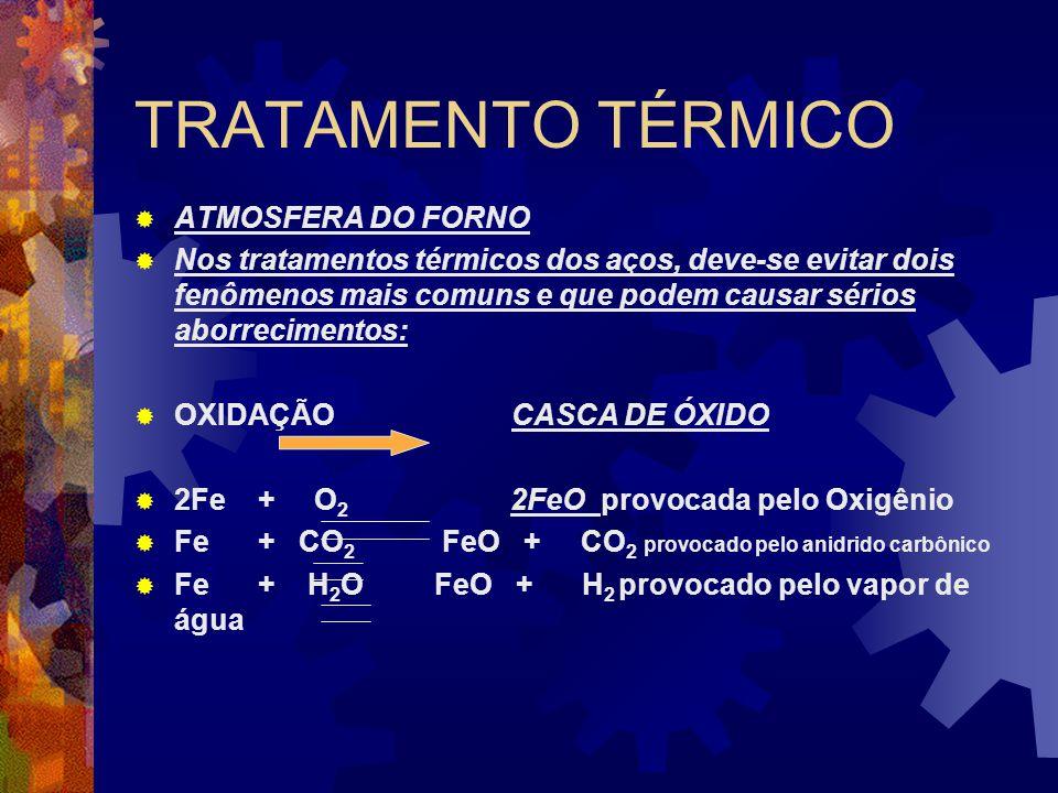 TRATAMENTO TÉRMICO  ATMOSFERA DO FORNO  Nos tratamentos térmicos dos aços, deve-se evitar dois fenômenos mais comuns e que podem causar sérios aborr
