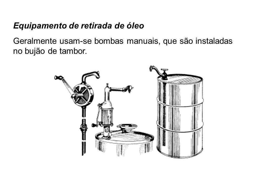 Equipamento de retirada de óleo Geralmente usam-se bombas manuais, que são instaladas no bujão de tambor.