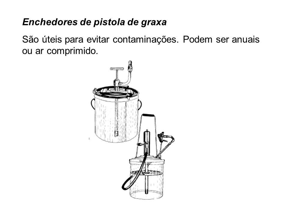 Enchedores de pistola de graxa São úteis para evitar contaminações. Podem ser anuais ou ar comprimido.