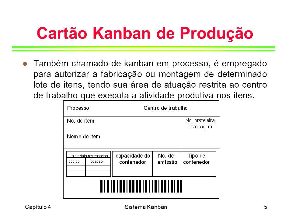 Capítulo 4Sistema Kanban6 Cartão Kanban de Requisição Interna l Também chamado de cartão kanban de transporte, retirada ou movimentação, ou simplesmente cartão kanban de requisição, funciona como uma requisição de materiais, autorizando o fluxo de itens entre o centro de trabalho produtor e o centro consumidor dos itens.