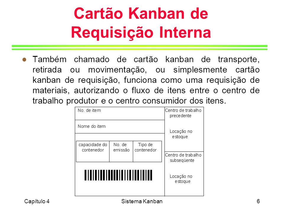 Capítulo 4Sistema Kanban7 Cartão Kanban de Fornecedor l Executa as funções de uma ordem de compra convencional, ou seja, autoriza o fornecedor externo da empresa a fazer uma entrega de um lote de itens, especificado no cartão, diretamente ao seu usuário interno, desde que o mesmo tenha consumido o lote de itens correspondente ao cartão.