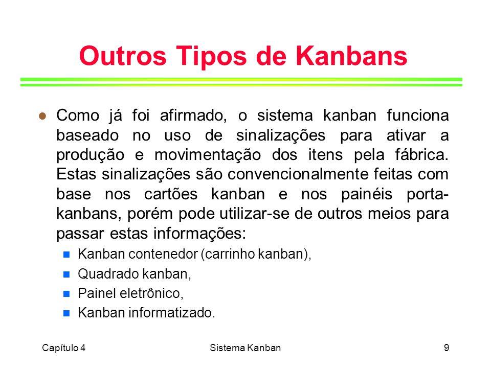 Capítulo 4Sistema Kanban20 Cálculo do Número de Cartões Kanban l Sistema com dois cartões: D = 500 itens/dia;Q = 20 itens/cartão; S = 0,1 do dia; Tprod = 0,2 do dia (em função dos custos de setup da máquina, pretendemos fazer em média 5 preparações por dia para este item); Tmov = 0,25 do dia (o funcionário responsável pela movimentação dos lotes entre o produtor e o consumidor está encarregado de fazer 8 viagens por dia); N = 5,5 + 6,87 N = 6 cartões kanban de produção + 7 cartões kanban de movimentação