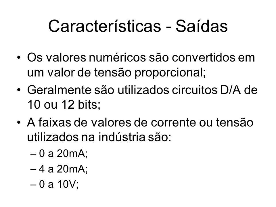 Os valores numéricos são convertidos em um valor de tensão proporcional; Geralmente são utilizados circuitos D/A de 10 ou 12 bits; A faixas de valores