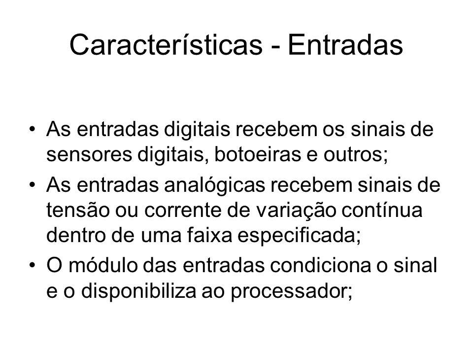 Características - Entradas As entradas digitais recebem os sinais de sensores digitais, botoeiras e outros; As entradas analógicas recebem sinais de t