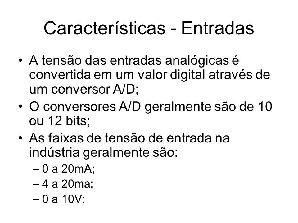 Características - Entradas A tensão das entradas analógicas é convertida em um valor digital através de um conversor A/D; O conversores A/D geralmente