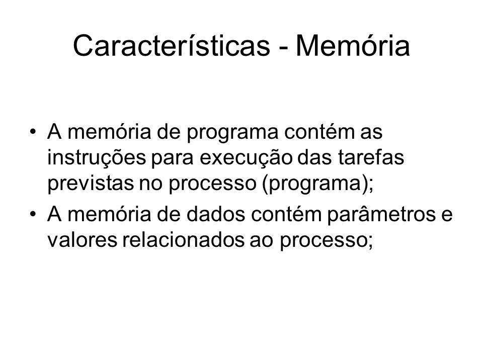 Características - Memória A memória de programa contém as instruções para execução das tarefas previstas no processo (programa); A memória de dados co