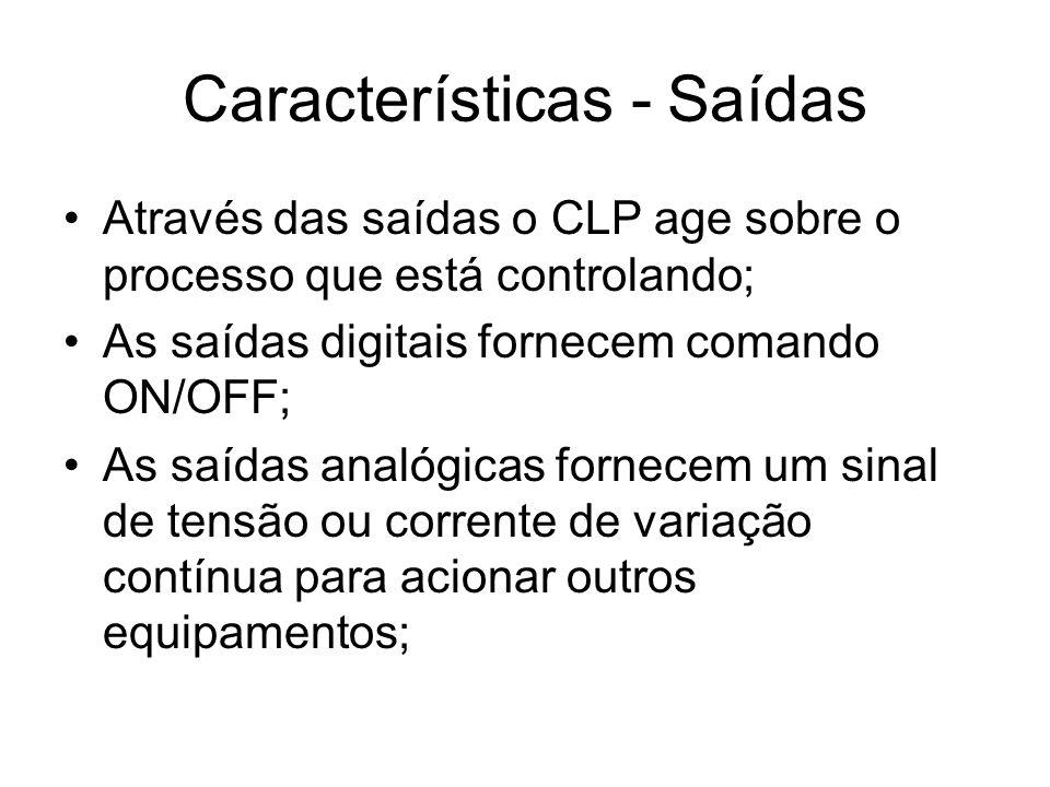 Características - Saídas Através das saídas o CLP age sobre o processo que está controlando; As saídas digitais fornecem comando ON/OFF; As saídas ana
