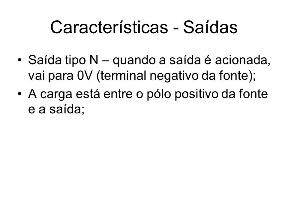 Características - Saídas Saída tipo N – quando a saída é acionada, vai para 0V (terminal negativo da fonte); A carga está entre o pólo positivo da fon