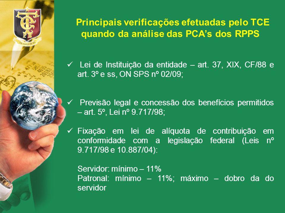 Principais verificações efetuadas pelo TCE quando da análise das PCA's dos RPPS Lei de Instituição da entidade – art. 37, XIX, CF/88 e art. 3º e ss, O
