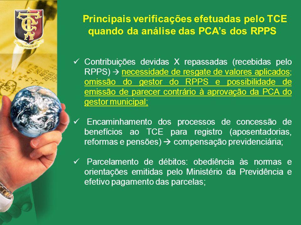 Principais verificações efetuadas pelo TCE quando da análise das PCA's dos RPPS Contribuições devidas X repassadas (recebidas pelo RPPS)  necessidade