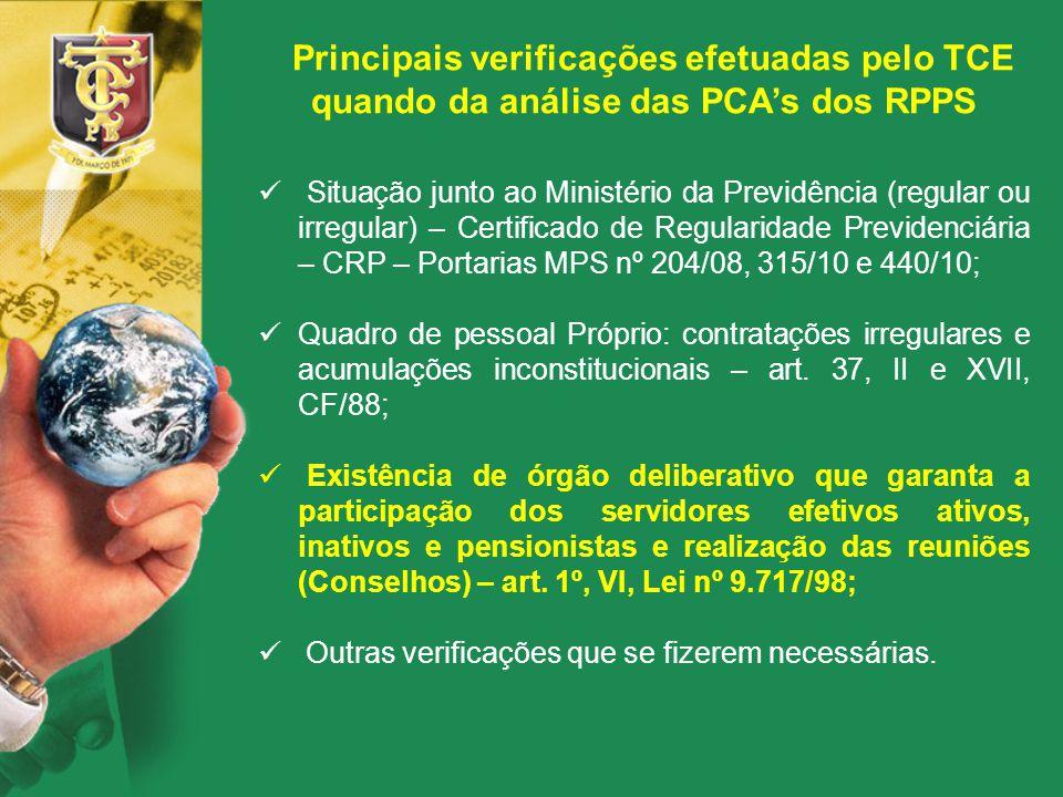 Principais verificações efetuadas pelo TCE quando da análise das PCA's dos RPPS Situação junto ao Ministério da Previdência (regular ou irregular) – C