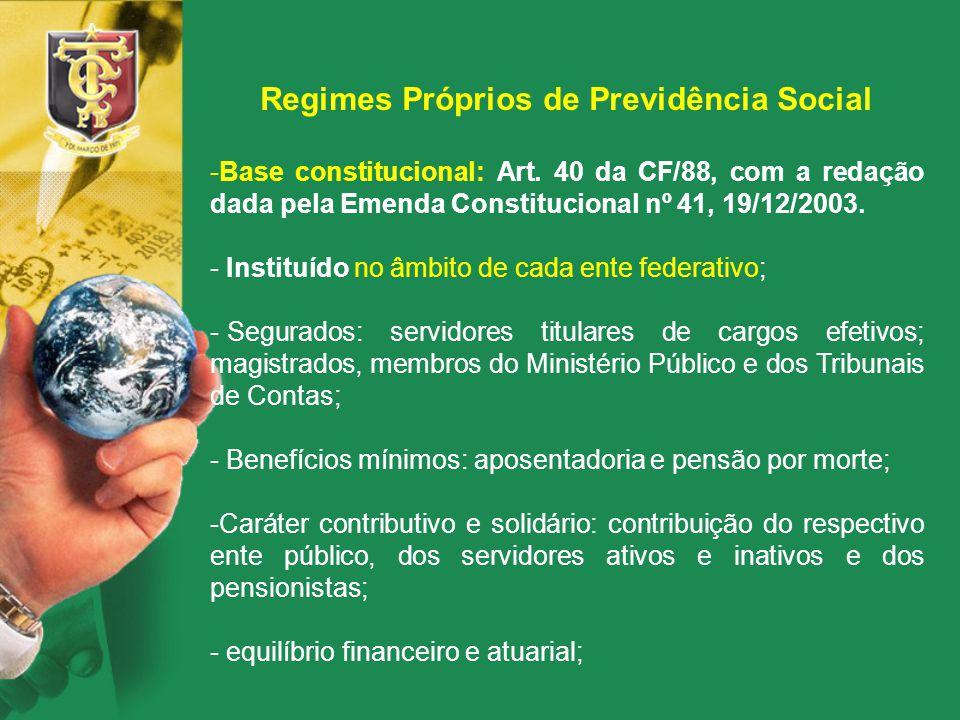 Regimes Próprios de Previdência Social -Base constitucional: Art. 40 da CF/88, com a redação dada pela Emenda Constitucional nº 41, 19/12/2003. - Inst