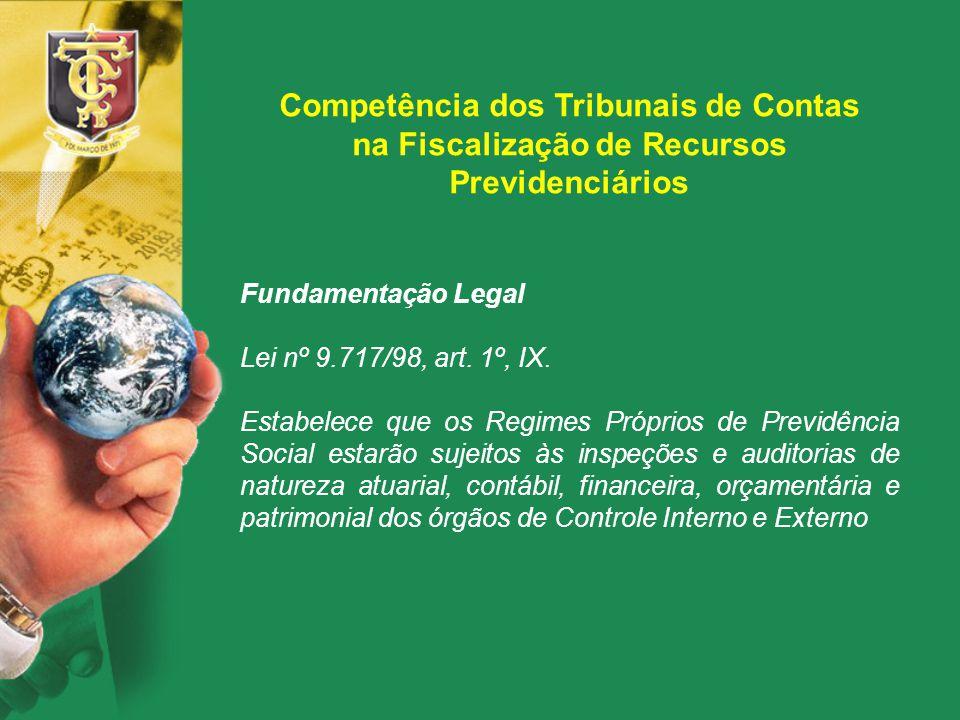 Competência dos Tribunais de Contas na Fiscalização de Recursos Previdenciários Fundamentação Legal Lei nº 9.717/98, art. 1º, IX. Estabelece que os Re
