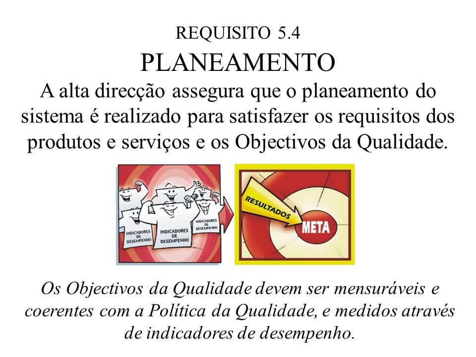 REQUISITO 5.4 PLANEAMENTO A alta direcção assegura que o planeamento do sistema é realizado para satisfazer os requisitos dos produtos e serviços e os