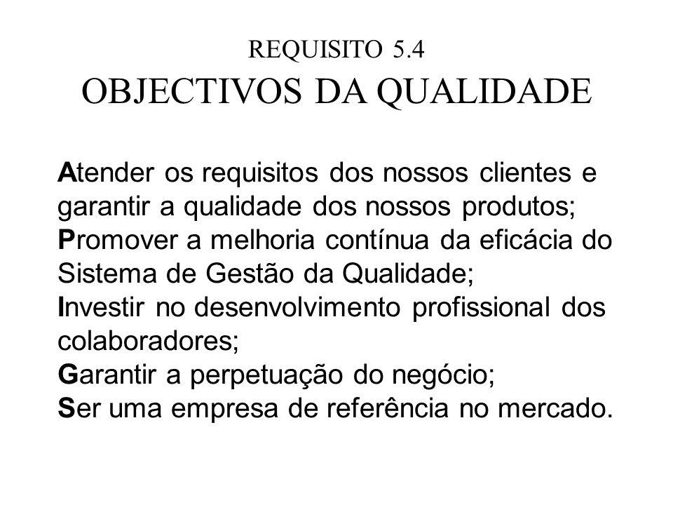 REQUISITO 5.4 OBJECTIVOS DA QUALIDADE Atender os requisitos dos nossos clientes e garantir a qualidade dos nossos produtos; Promover a melhoria contín