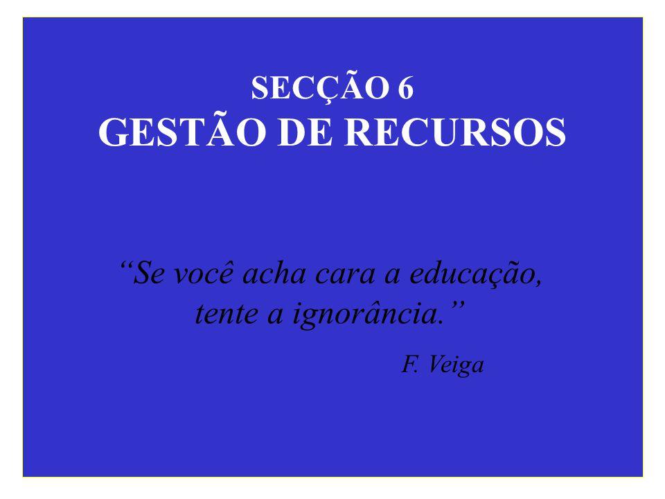 SECÇÃO 6 GESTÃO DE RECURSOS Se você acha cara a educação, tente a ignorância. F. Veiga
