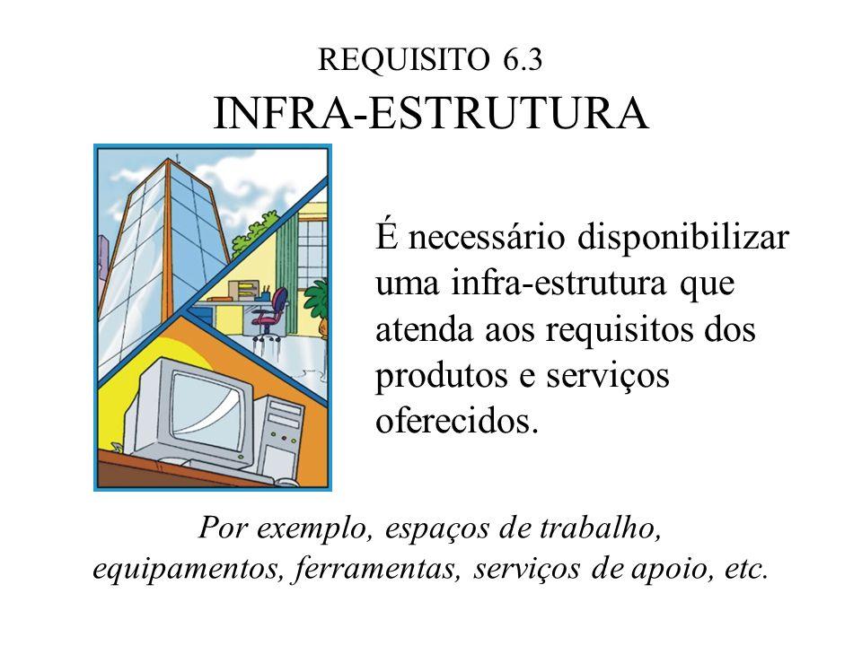 REQUISITO 6.3 INFRA-ESTRUTURA É necessário disponibilizar uma infra-estrutura que atenda aos requisitos dos produtos e serviços oferecidos. Por exempl