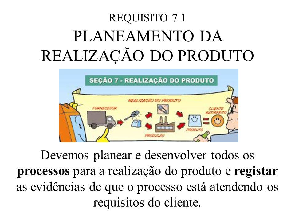 REQUISITO 7.1 PLANEAMENTO DA REALIZAÇÃO DO PRODUTO Devemos planear e desenvolver todos os processos para a realização do produto e registar as evidências de que o processo está atendendo os requisitos do cliente.