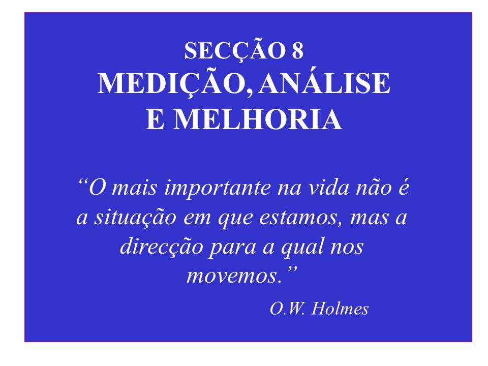 """SECÇÃO 8 MEDIÇÃO, ANÁLISE E MELHORIA """"O mais importante na vida não é a situação em que estamos, mas a direcção para a qual nos movemos."""" O.W. Holmes"""